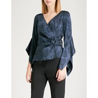 Wrap satin-jacquard blouse