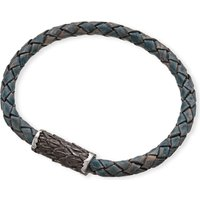 SEVEN JEWELLERY | Seven Jewellery Single-plait leather bangle, Mens, Blue | Goxip