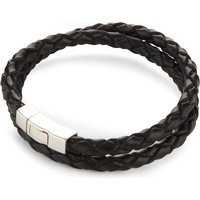 Double-wrap scoubidou leather and sterling silver bracelet
