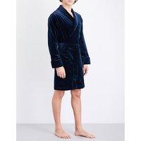 Contrast-trims velvet dressing gown