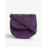 Altuzarra Royal Purple Mini Ghianda Studded Leather Saddle Bag
