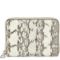 Snakeskin embossed zip-around purse