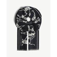 Dancing skeleton print wool scarf