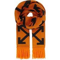 Off-White C/O Virgil Abloh Mens Orange Striped Logo Diagonal Print Scarf