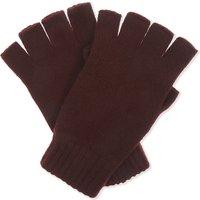Johnstons Mens Brown Ribbed Luxury Plain Cashmere Fingerless Gloves