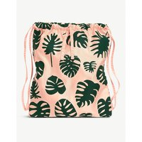 None Pink Floral Monstera Patterned Drawstring Backpack
