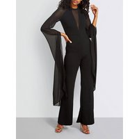 Flared-sleeve woven jumpsuit