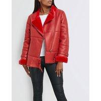 Oversized faux-shearling aviator jacket