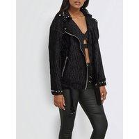 Missguided Ladies Black Classic Textured Velvet Jacket, Size: 10