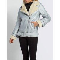 Biker-collar faux-shearling jacket