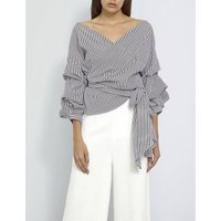 Missguided Ladies Grey Round Classic Striped Wrap-Over Front Poplin Blouse, Size: 6