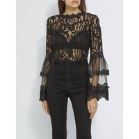 Flare-sleeve mesh top