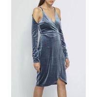 Cold-shoulder velvet wrap dress