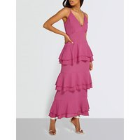 Tiered crepe maxi dress