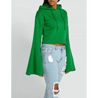 Flared-sleeve cotton-blend hoody