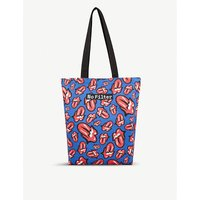 The Rolling Stones Blue Logo Print Cotton Tote Bag