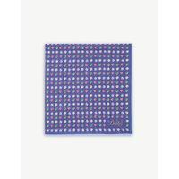 Painted polka-dot cotton-blend pocket square