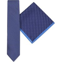Lanvin Circle and triangle-print silk tie and pocket square set, Mens, Navy