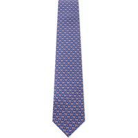 Salvatore Ferragamo Mens Blue Printed Classic Bus & Snowflake Print Silk Tie