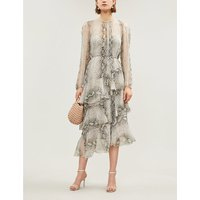 Zimmermann Silver Ruffled Tiered Snake-Print Silk-Georgette Midi Dress