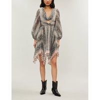 Zimmermann Silver Python-Print Crepe Dress