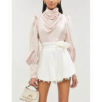 Draped-front silk-satin blouse