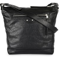 Balenciaga Mens Black Exposed zip Leather Day Bag, Mens, Noir