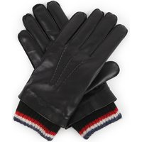 Stripe-trim leather and cashmere gloves