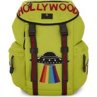 Gucci Mens Green Slogan Hollywood Neon Mesh Backpack