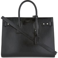 Patent grained leather tote bag