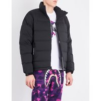 A Bathing Ape Black Contrast Logo-Trimmed Down And Feather-Blend Puffer Jacket