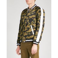 Camouflage satin quilted bomber jacket