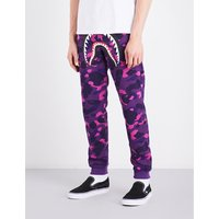A Bathing Ape Mens Purple Camo Iconic Camouflage Shark-Print Cotton-Jersey Jogging Bottoms