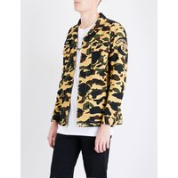 1st camouflage-print slim-fit cotton shirt