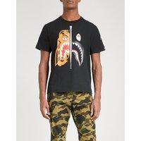 A Bathing Ape Mens Black Printed Tiger Shark Cotton-Jersey T-Shirt