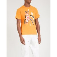 A Bathing Ape Mens Orange Logo Print Tiger Shark Cotton-Jersey T-Shirt