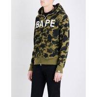 Camouflage ape-print cotton-jersey hoody