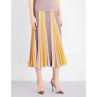 Pleated metallic-knit midi skirt