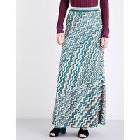 Chevron-print high-rise metallic-knit skirt