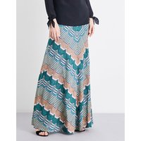 Chevron metallic-knit maxi skirt