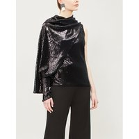 Draped one-sleeve sequinned top