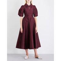 Merchant Archive Ladies Burgundy Draped Vintage Drape-Sleeve Satin Midi Dress