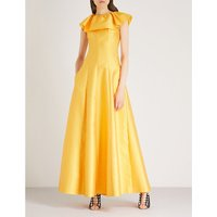 Frilled-collar sleeveless woven gown