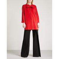 Bow-embellished velvet jacket