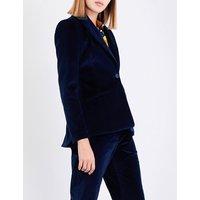 Altuzarra Ladies Blue Flared Acacia Single-Breasted Velvet Jacket