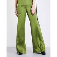 Hellessy Ladies Green Flared Feminine Patton Wide-Flare Silk-Charmeuse Pants