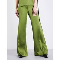 Hellessy Ladies Green Flared Feminine Patton Wide-Flare Silk-Charmeuse Trousers, Size: 8