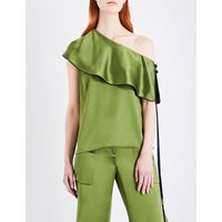 Hellessy Ladies Green Contrast Concealed Zip Mercer Silk-Charmeuse Top