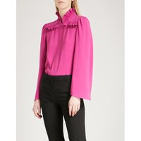 Frilled-detail crepe blouse
