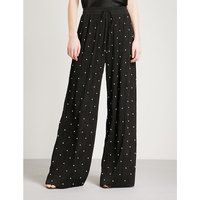 Faux-pearl embellished wide-leg pleated trousers